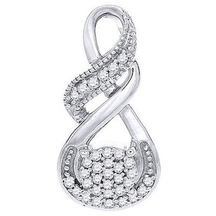 Jewelry For Less Diamond Infinity Slide Pendant 10k White Gold Fashion Round Cut Charm 0.08 Ct.