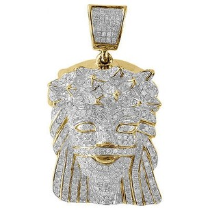 Jewelry For Less Diamond Jesus Face Piece Pendant 10k Yellow Gold Fully Iced Pave Charm 1.80 Ct.
