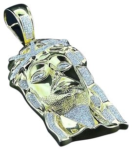 Other Diamond Jesus Piece Face Pendant Sterling Silver Yellow Finish Charm 0.55 Ct.