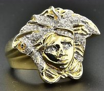 Jewelry For Less Diamond Medusa Pinky Statement Ring .925 Sterling Silver Mens Round Pave 0.35 Ct