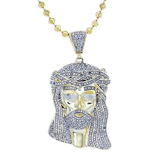 Jewelry For Less Diamond Micro Mini Jesus Face Piece Pendant .925 Charm 1 Ct With Moon-cut Chain
