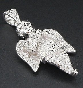 Jewelry For Less Diamond Mini Angel Pendant 925 Sterling Silver Fully Iced Out Pave Charm 0.50 Ct