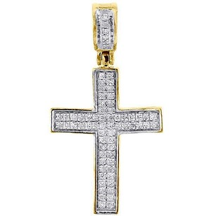 Jewelry For Less Diamond Mini Cross Pendant 10k Yellow Gold 0.25 Ct. Pave Concave Charm 1.21