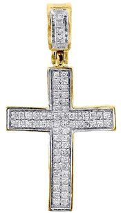 Diamond Mini Cross Pendant 10k Yellow Gold 0.25 Ct. Pave Concave Charm 1.21