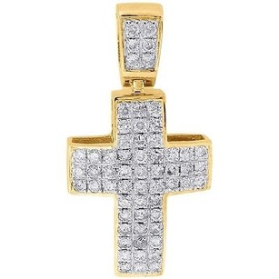 Jewelry For Less Diamond Mini Domed Cross Pendant 10k Yellow Gold Round Cut Pave Charm 0.52 Ct.