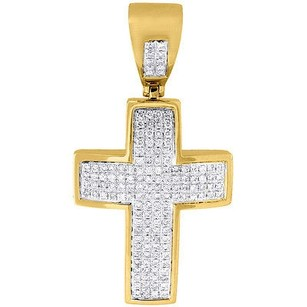 Jewelry For Less Diamond Mini Domed Cross Pendant 10k Yellow Gold Solid Side Wall Charm 0.75 Ct.