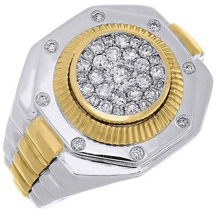Diamond Octagon Fashion Pinky Ring Mens 10k Two Tone Gold Fluted Bezel 0.83 Ctw.