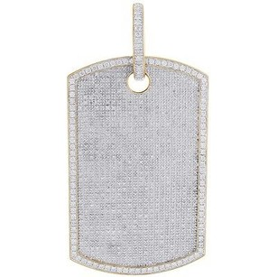 Jewelry For Less Diamond Pave Dog Tag Pendant Mens 10k Yellow Gold Real Charm 6.89 Ct.