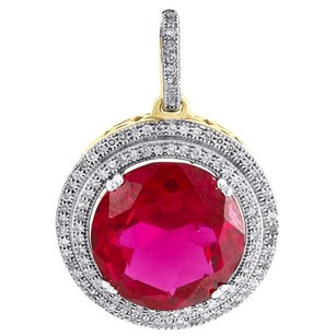 Diamond Pendant 10k Yellow Gold Round Halo Created Ruby Fashion Charm 0.33 Ct.