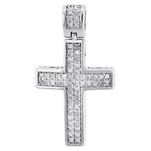Diamond Pendant Mini Jesus Piece Cross .925 Sterling Silver Domed Charm 0.33 Ct