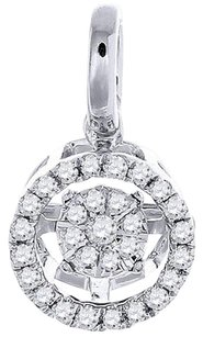 Other Diamond Solitaire Circle Halo Pendant Ladies 10k White Gold Round Charm 0.29 Ct.