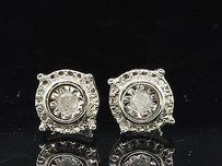 Jewelry For Less Diamond Solitaire Studs Ladies .925 Sterling Silver Circle Design Earrings