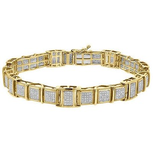 Jewelry For Less Diamond Statement Link Bracelet 10k Yellow Gold 8 Pave Round Cut 1.39 Ct.