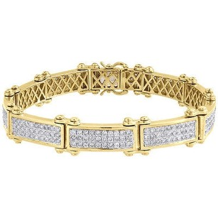 Jewelry For Less Diamond Statement Link Pave Bracelet Mens 10k Yellow Gold 8 Round Cut 6.29 Ct.