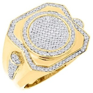 Jewelry For Less Diamond Statement Pinky Ring Mens 10k Yellow Gold Round Cut Pave Band 0.75 Ct.