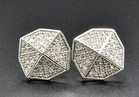 Jewelry For Less Diamond Studs Octagon Shaped Mens Ladies 10k White Gold Pave Earrings 0.18 Ct.
