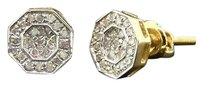 Diamond Studs Octagon Shaped Mens Ladies 10k Yellow Gold Pave Earrings 15 Ct.
