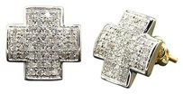 Diamond Studs Plus Sign Shape Mens Ladies 10k Yellow Gold Pave Earrings 0.42 Ct.