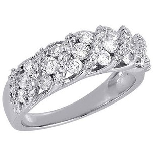 Jewelry For Less Diamond Wedding Band 10k White Gold Round Cut Ladies Anniversary Ring 1 Ct.
