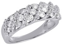 Diamond Wedding Band 10k White Gold Round Cut Ladies Anniversary Ring 1 Ct.