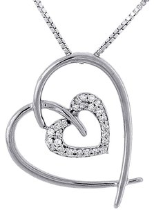 Double Heart Diamond Pendant 10k White Gold Charm With Necklace 0.12 Ct.