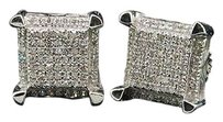 Diamond,Square,Earrings,10k,White,Gold,Round,Cut,Pave,3d,Studs,14,Tcw.