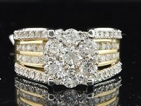 14k Yellow Gold Round Cut Flower Diamond Engagement Band Bridal Ring 2 Ct.