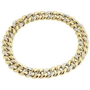 Genuine Diamond Miami Cuban Link Bracelet 1.26 Ct 10k Yellow Gold 9.5mm Inch