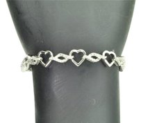 Heart Shape Diamond Bracelet For Ladies .925 Sterling Silver 7.75 Inch 0.14 Ct