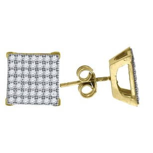 Jewelry For Less 10k Yellow Gold Square Pave Cz 0.43 Stud Push Back Earrings