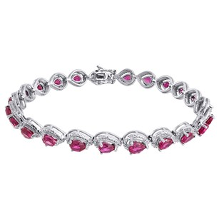 Diamond Sterling Silver Bracelet Lab Created Gemstone Pear Shape Ruby 5.84 Tcw