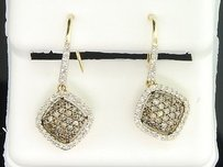 Ladies 10k Yellow Gold White Brown Champagne Diamond Danglers Earrings 0.64 Ct