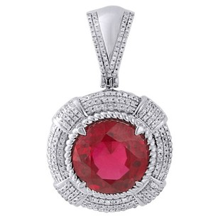 Jewelry For Less Mens 925 Sterling Silver Genuine Round Diamond Created Ruby Pendant Charm .55 Ct