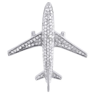 Mens Diamond Airplane Pendant .925 Sterling Silver Flight Charm 0.60 Ct.