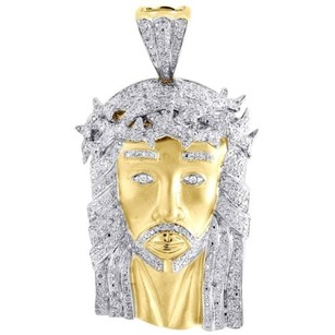Mens Diamond Jesus Face Pendant .925 Sterling Silver Round Pave Charm 1.15 Ct.