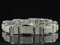 Jewelry For Less Mens Diamond Link Bracelet .925 Sterling Silver Round Pave Design Ct.