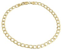 Mens Or Ladies 10k Yellow Gold Flat Cuban Curb Mm Link Bracelet 8-9 Inches
