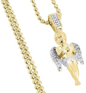 Mini Angel Cherub Real Diamond Pendant .925 Charm 0.10 Tcw With Moon-cut Chain