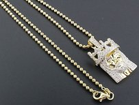 Jewelry For Less Mini Diamond Jesus Face Crown Pendant Sterling Silver Charm 0.60 Ct. W Chain