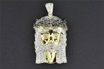 Jewelry For Less Mini Jesus Head Pendant 10k Yellow Gold Black Diamond High Polished Cross .35 Ct