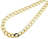 10k,Yellow,Gold,Chiseled,Plain,Cuban,Curb,Chain,8.75,Mm,Necklace,22-30,Inches
