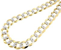 10k,Yellow,Gold,Solid,Pave,Flat,Curb,Cuban,Chain,14.25mm,Necklace,24,-,30