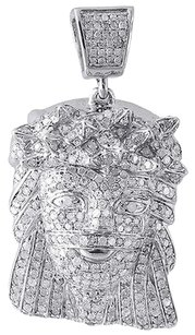 Diamond,Jesus,Piece,Pendant,10k,White,Gold,Fully,Iced,Out,Face,Charm,1.80,Ct.
