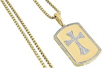 10k,Yellow,Gold,Genuine,Diamond,Cross,Centered,Dog,Tag,Charm,Pendant,0.33,Ct.