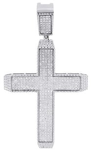 Real,Diamond,Cross,Pendant,Mens,White,Gold,Round,Cut,Flat,Pave,Charm,0.95,Ct.