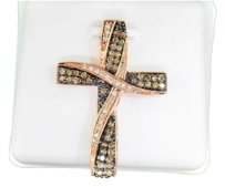 Cognac,Diamond,Cross,Pendant,10k,Rose,Gold,.57,Ct,Charm