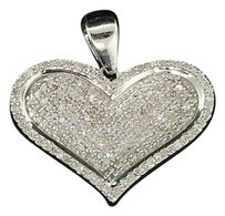 Ladies,10k,White,Gold,Love,Heart,Pave,Diamond,Pendant,Charm,For,Necklace,.50,Ct