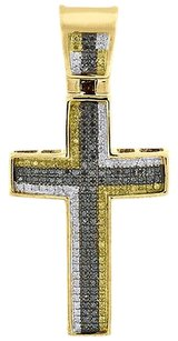 Black,And,Yellow,Diamond,Cross,Charm,Yellow,Gold,Mens,Fashion,Pendant,0.48,Ct.