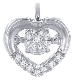 Dancing,Diamond,Heart,Pendant,Ladies,10k,White,Gold,With,Chain,0.09,Tcw.