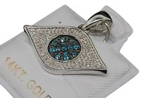 Blue,Sapphire,White,Diamond,Evil,Eye,Pendant,14k,Yellow,Gold,Charm,0.45,Ct